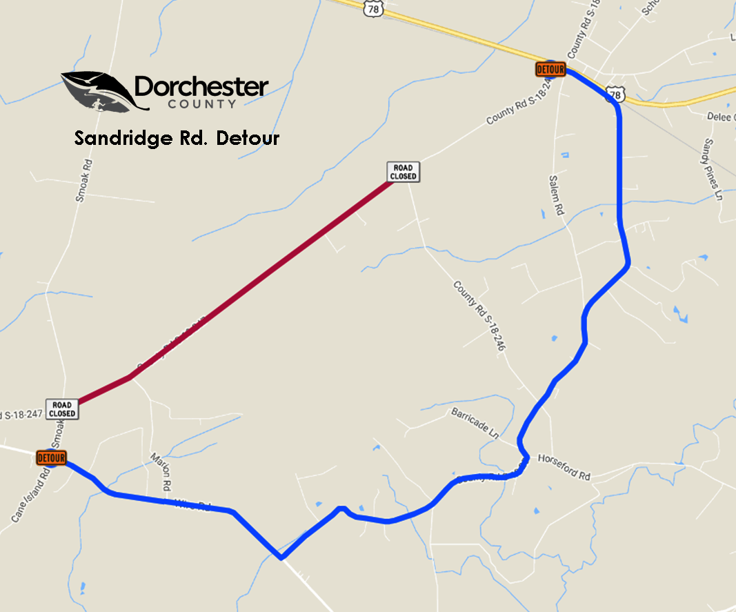 Sandridge Road Detour Map