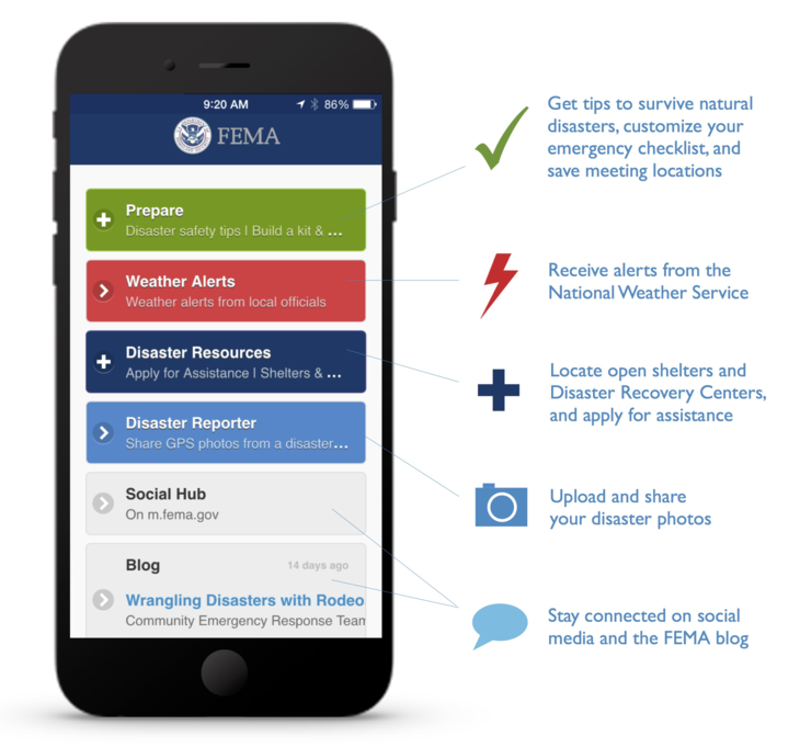 FEMA app features